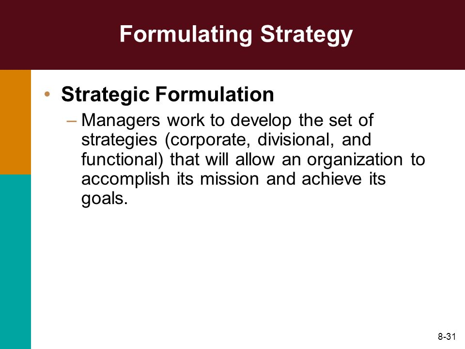 Formulating Strategy Strategic Formulation