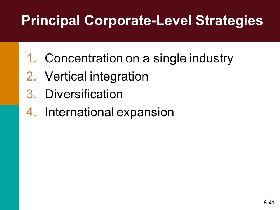 Principal Corporate-Level Strategies