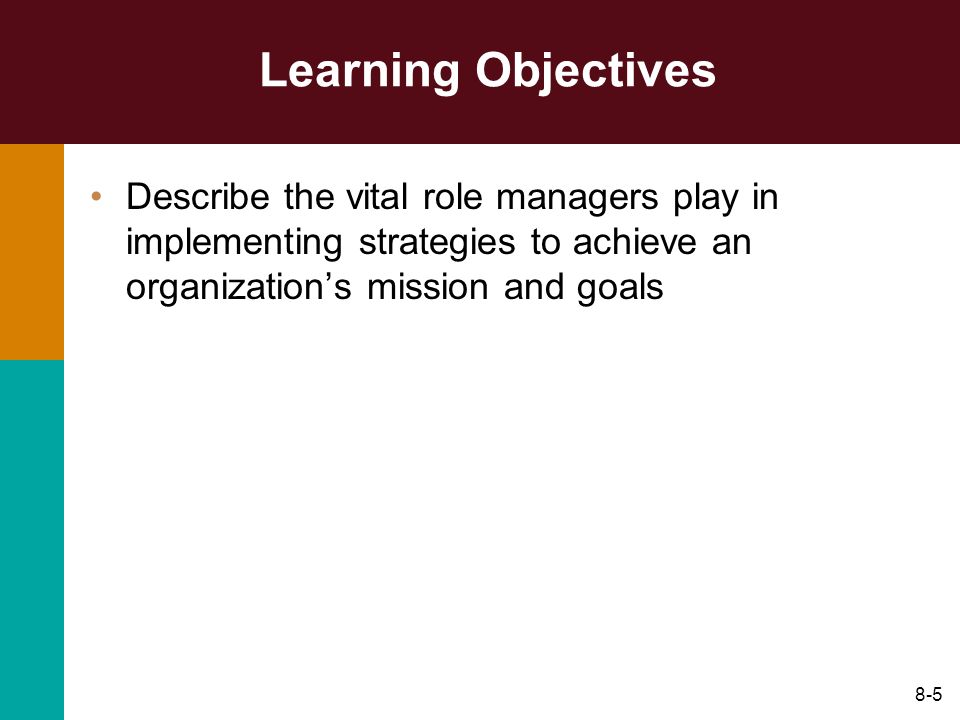 Learning Objectives Describe the vital role managers play in implementing strategies to achieve an organization's mission and goals.