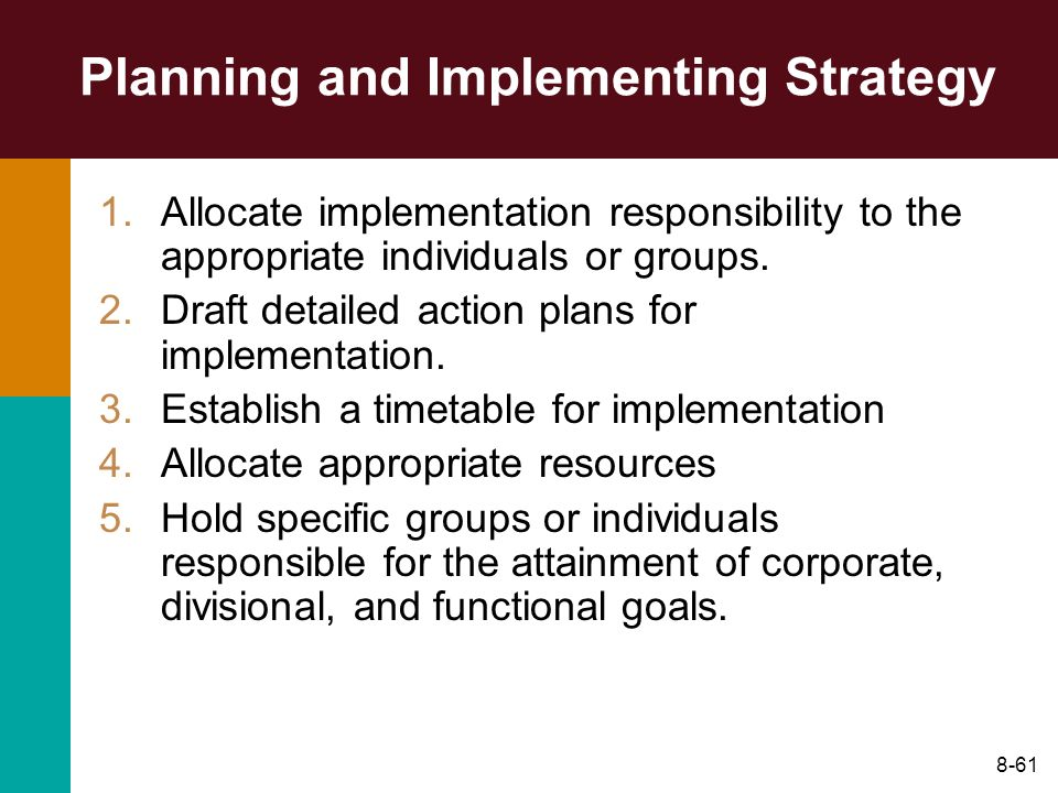 Planning and Implementing Strategy
