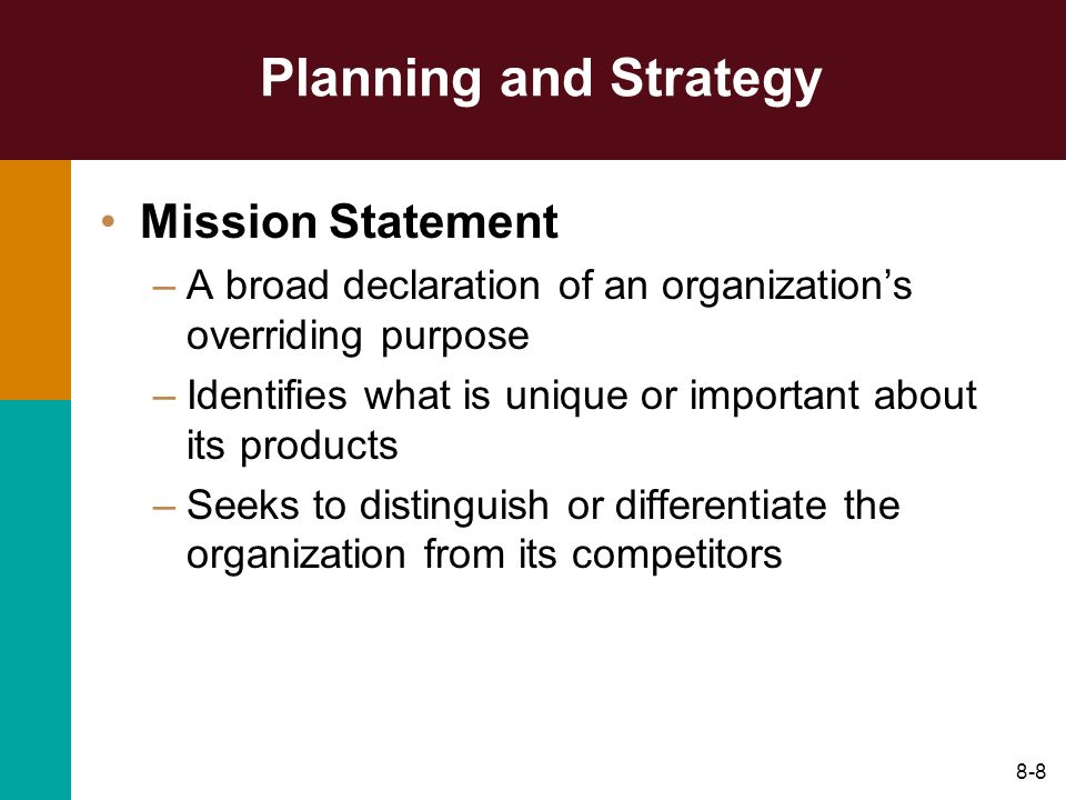 Planning and Strategy Mission Statement