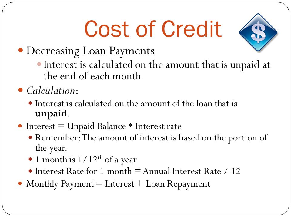 Cost of Credit Decreasing Loan Payments Calculation: