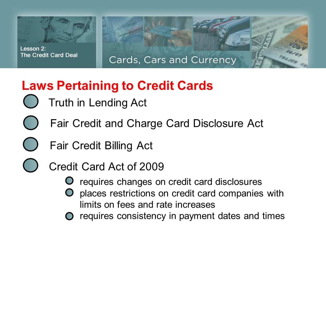 Laws Pertaining to Credit Cards