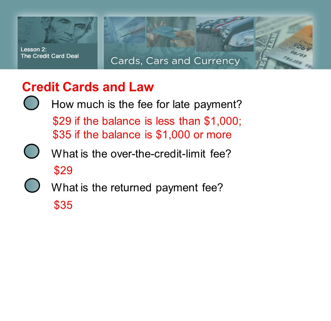 Credit Cards and Law How much is the fee for late payment