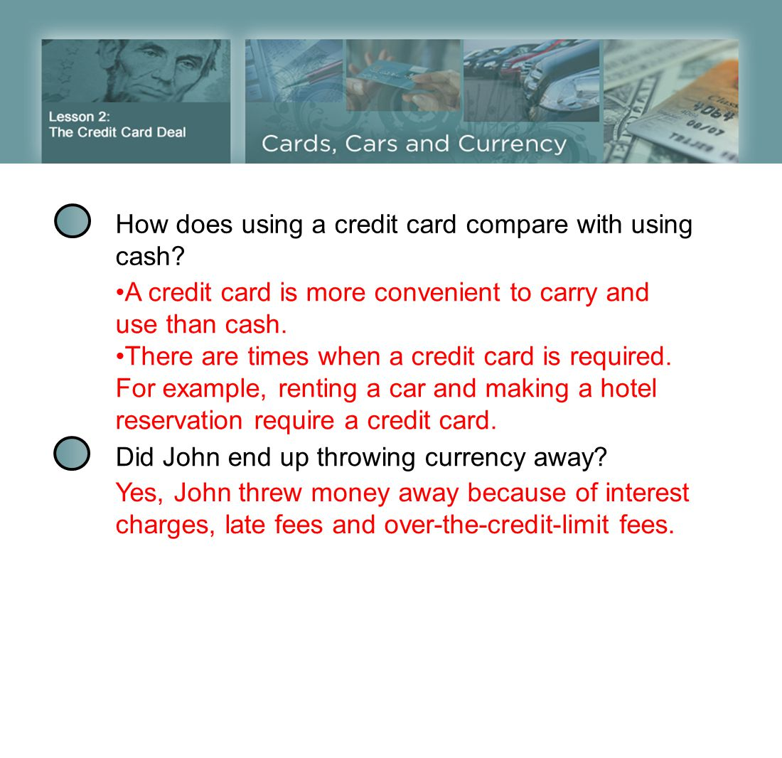 How does using a credit card compare with using cash