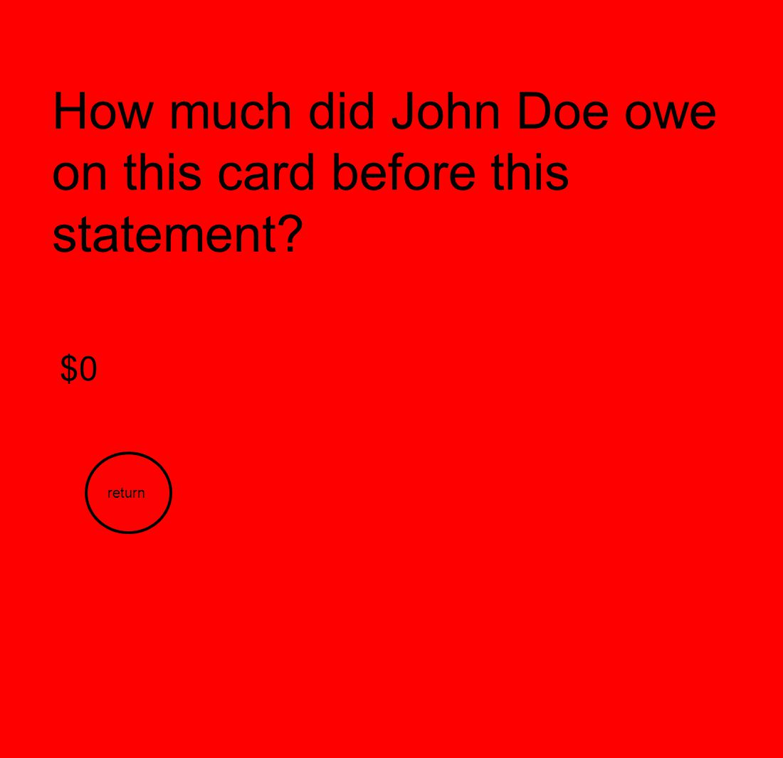 How much did John Doe owe on this card before this statement
