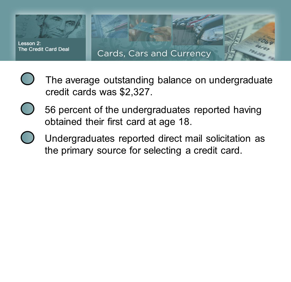 The average outstanding balance on undergraduate credit cards was $2,327.