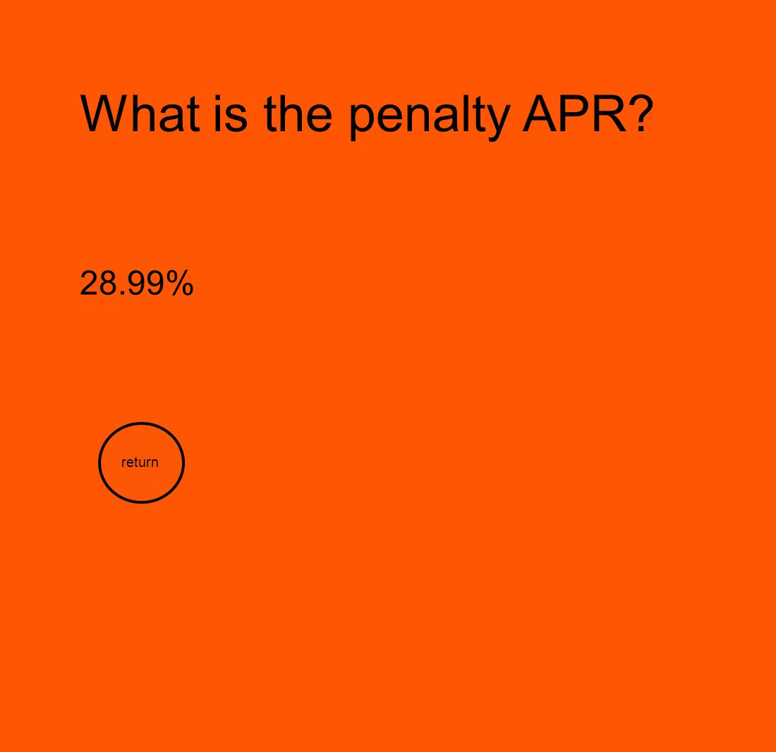 What is the penalty APR 28.99% return