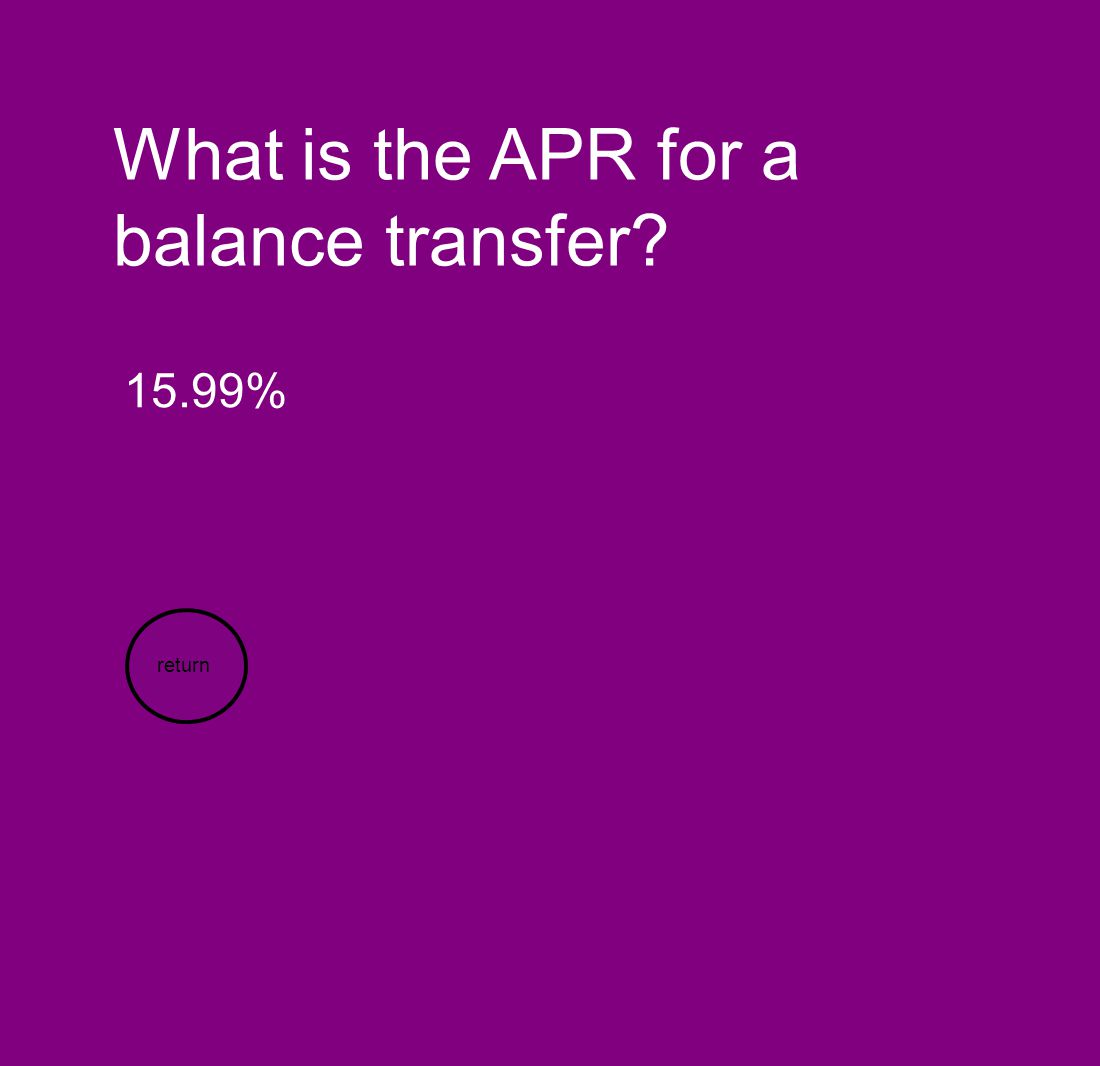What is the APR for a balance transfer