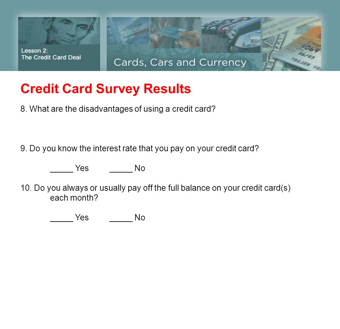 Credit Card Survey Results