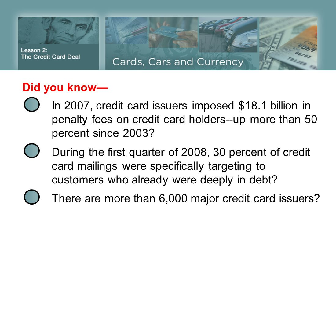Did you know— In 2007, credit card issuers imposed $18.1 billion in penalty fees on credit card holders--up more than 50 percent since 2003