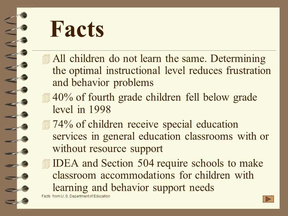 FactsAll children do not learn the same. Determining the optimal instructional level reduces frustration and behavior problems.