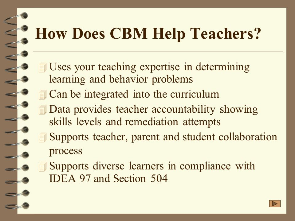 How Does CBM Help Teachers