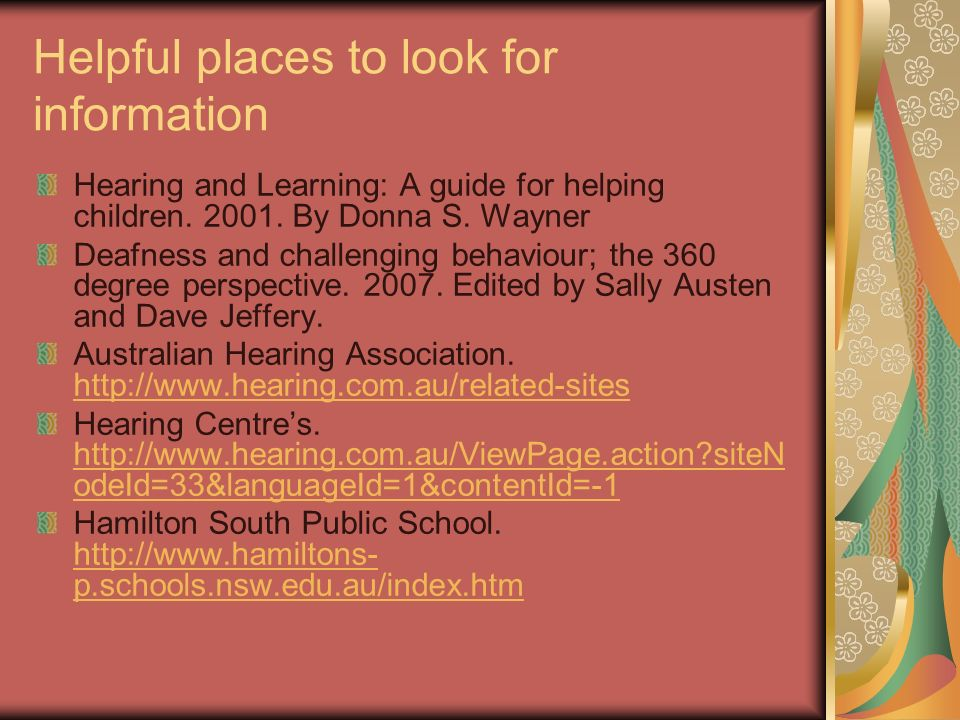 Helpful places to look for information