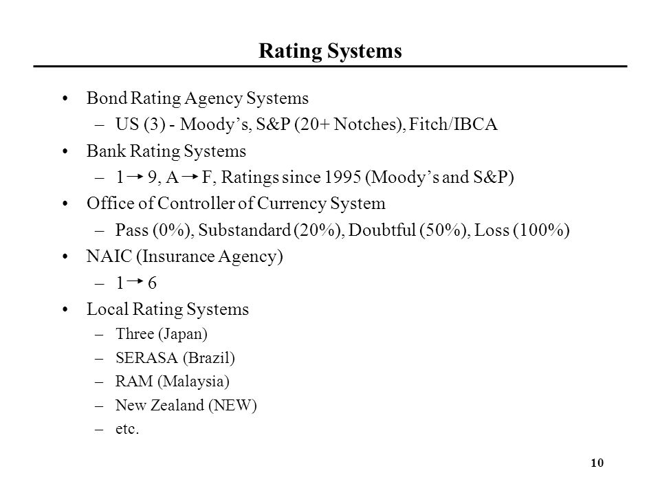 Rating Systems Bond Rating Agency Systems
