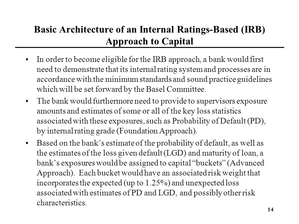 Basic Architecture of an Internal Ratings-Based (IRB) Approach to Capital