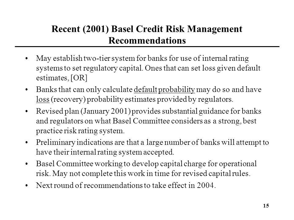 Recent (2001) Basel Credit Risk Management Recommendations