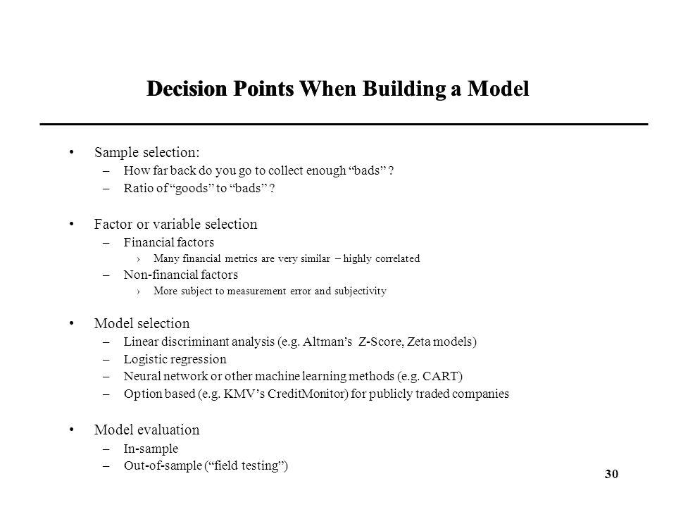 Decision Points When Building a Model