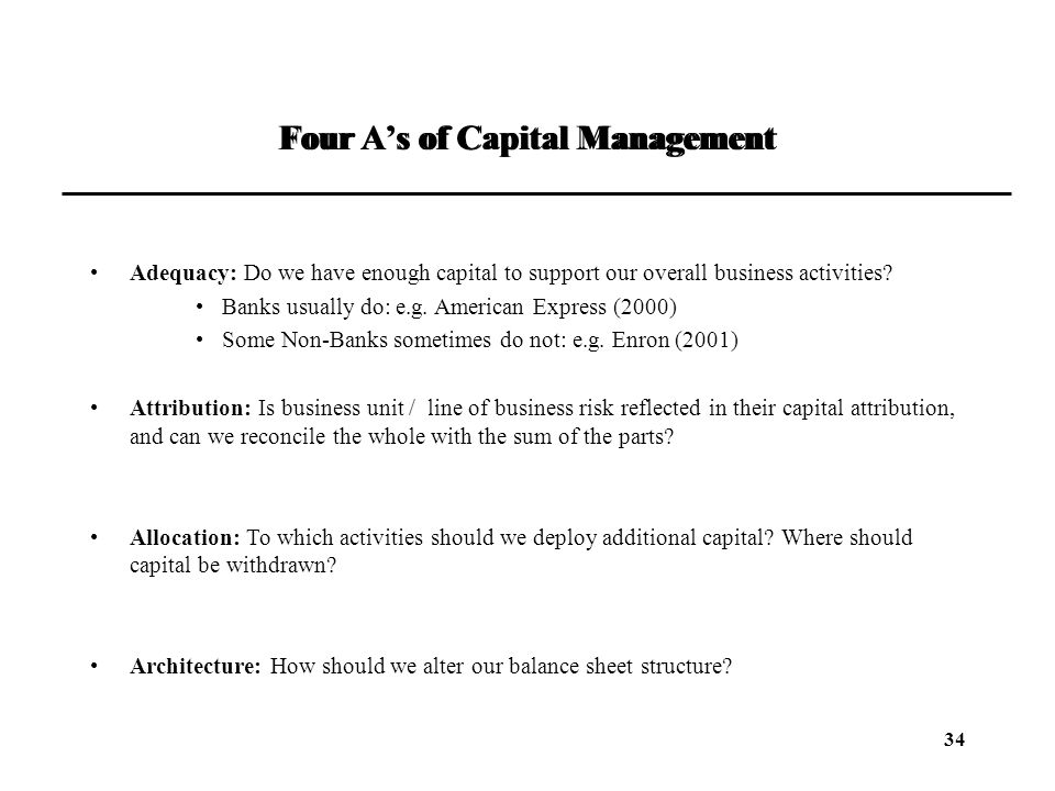 Four A's of Capital Management