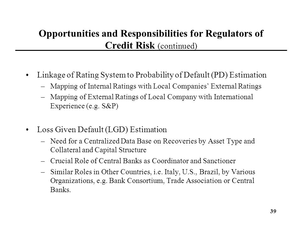 Opportunities and Responsibilities for Regulators of Credit Risk (continued)