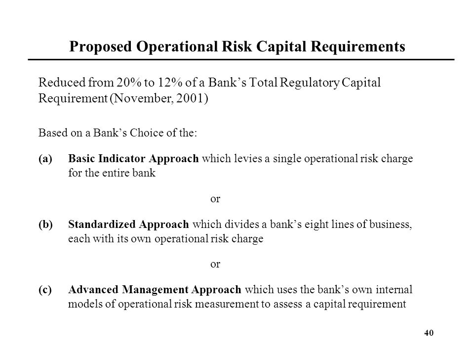 Proposed Operational Risk Capital Requirements