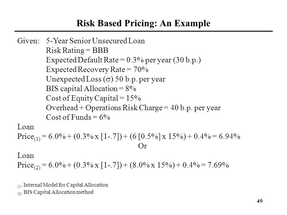 Risk Based Pricing: An Example