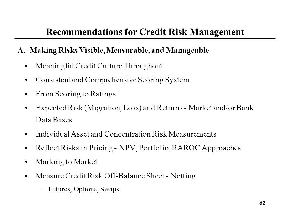 Recommendations for Credit Risk Management