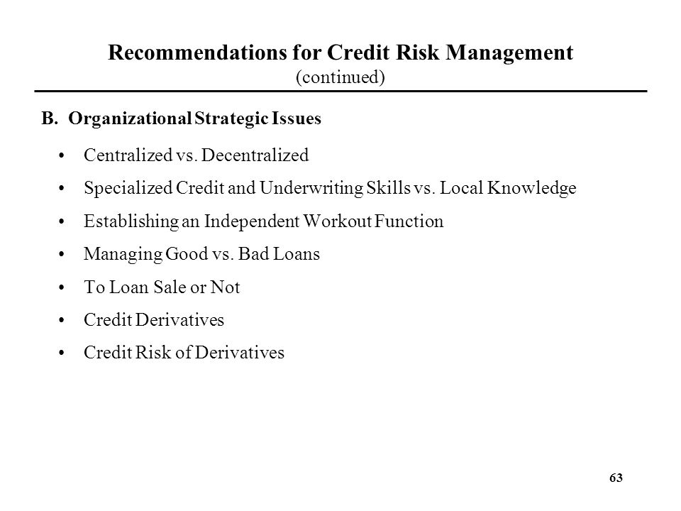 Recommendations for Credit Risk Management (continued)