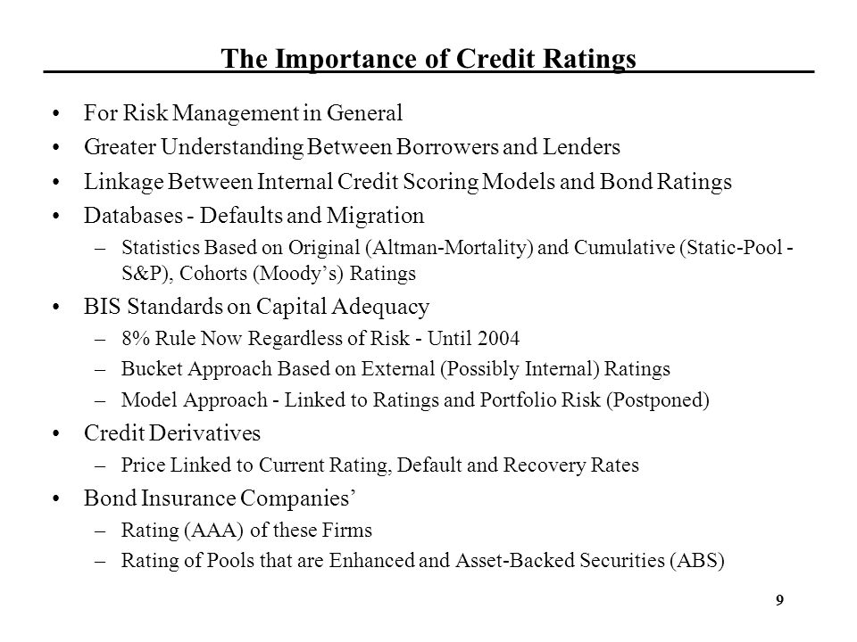 The Importance of Credit Ratings