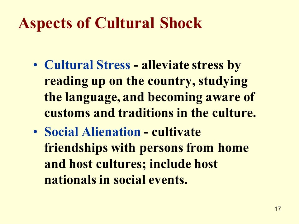 Aspects of Cultural Shock