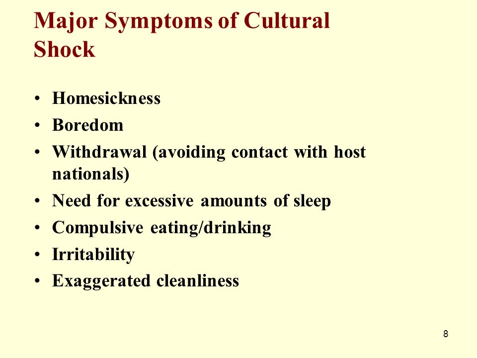 Major Symptoms of Cultural Shock