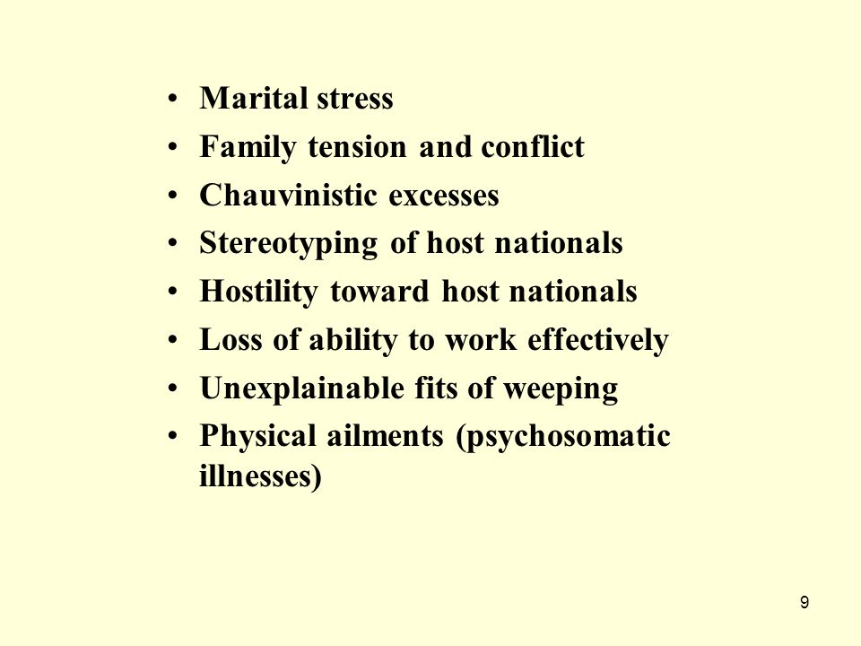 Marital stress Family tension and conflict. Chauvinistic excesses. Stereotyping of host nationals.