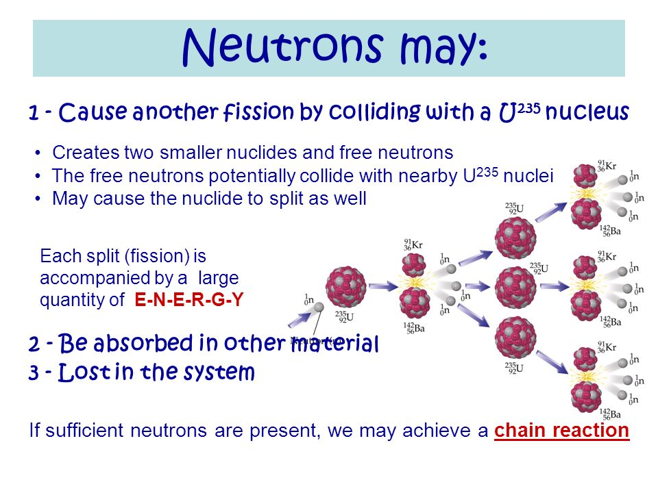 Neutrons may: 1 - Cause another fission by colliding with a U235 nucleus. 2 - Be absorbed in other material.