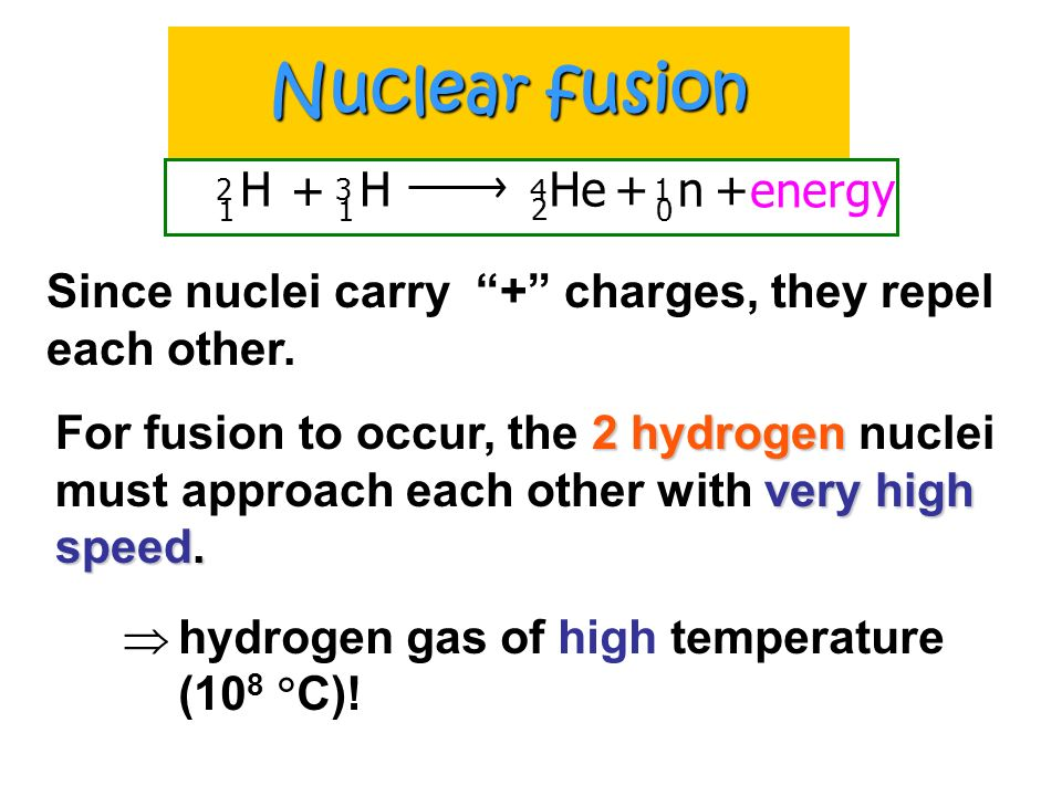 Nuclear fusion H 2 1 + H 3 1 He 4 2 + n 1 + energy