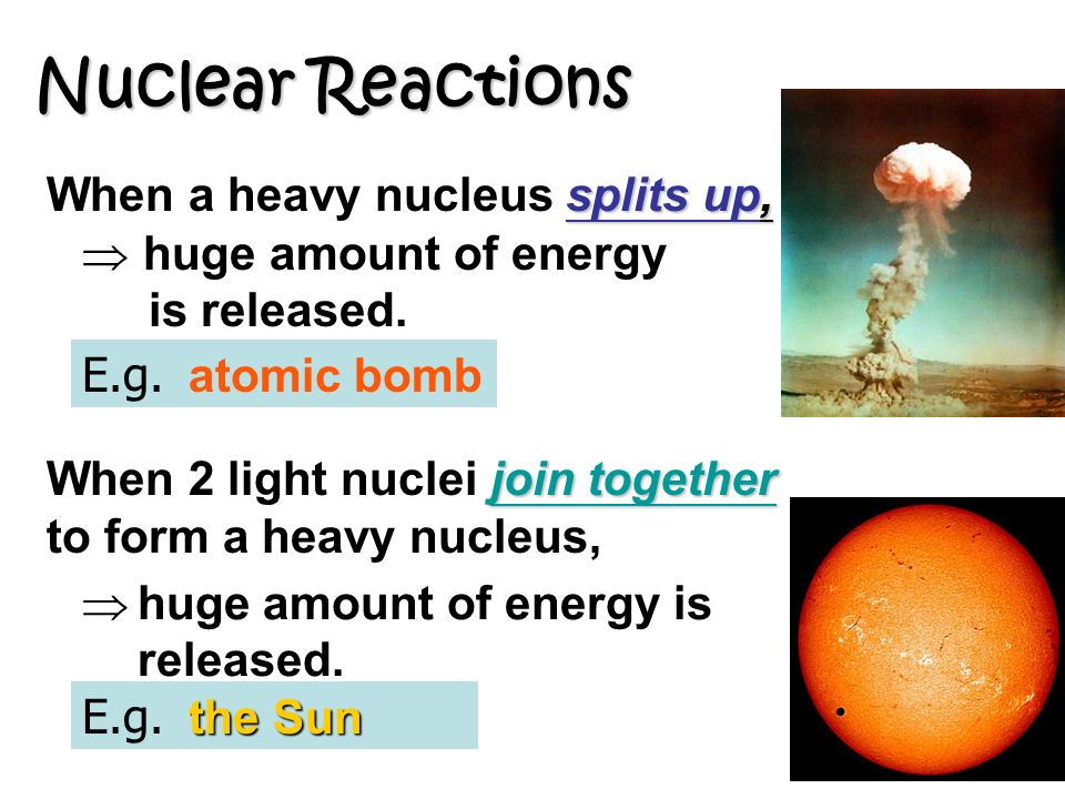 Nuclear Reactions When a heavy nucleus splits up,