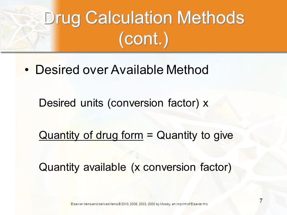 Drug Calculation Methods (cont.)