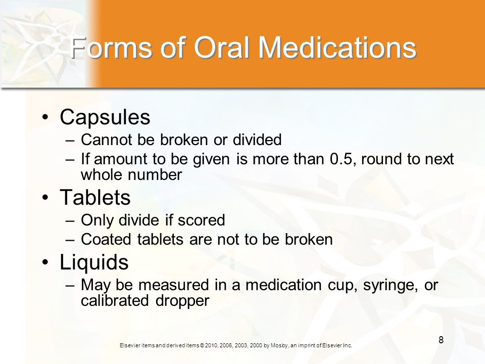 Forms of Oral Medications