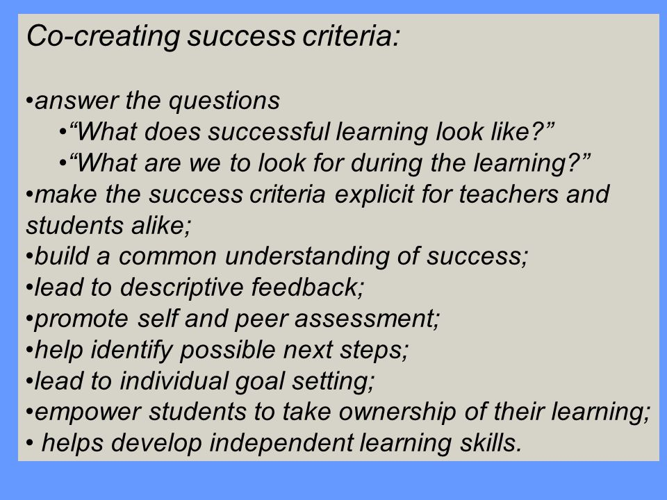 Co-creating success criteria:
