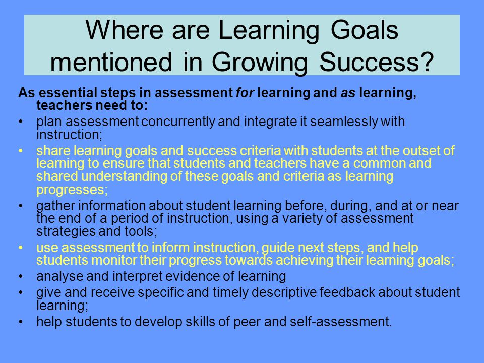 Where are Learning Goals mentioned in Growing Success