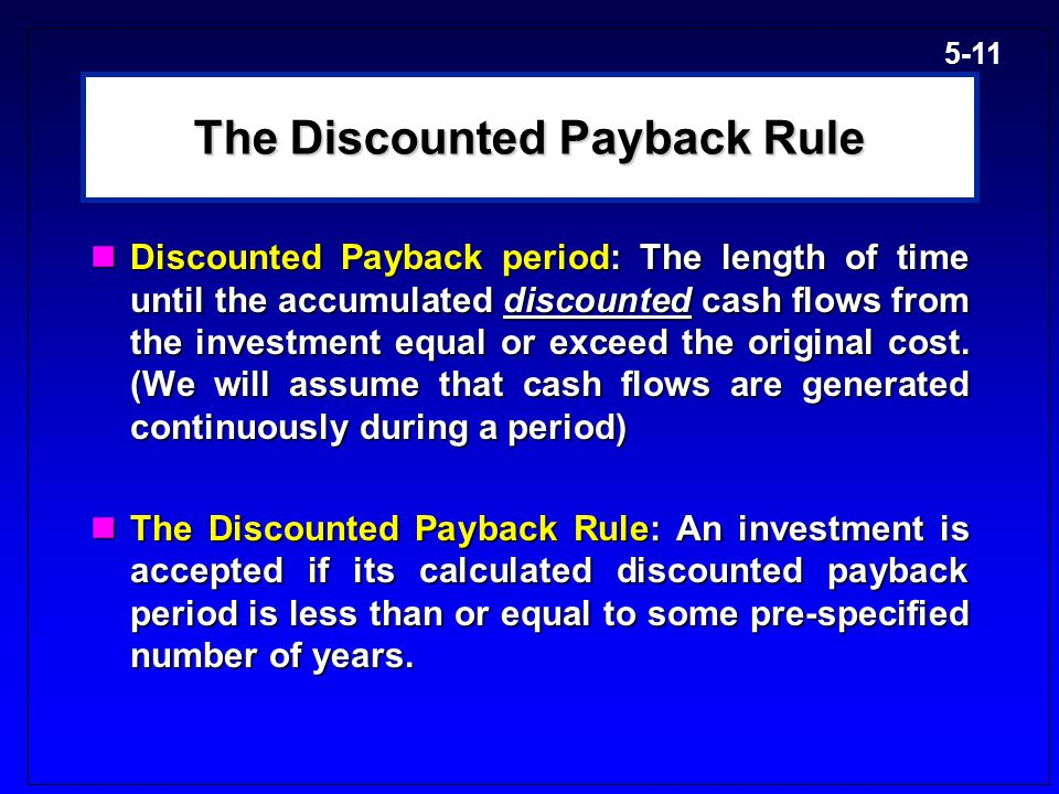 The Discounted Payback Rule