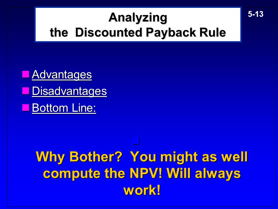 Analyzing the Discounted Payback Rule