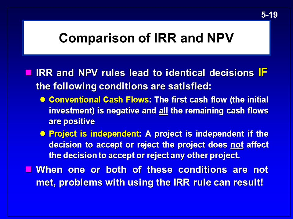 comparison between npv and irr What is the difference between an irr & an accounting rate of return chroncom/difference-between-irr-accounting net present value mean when.