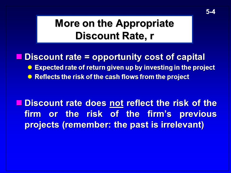 More on the Appropriate Discount Rate, r