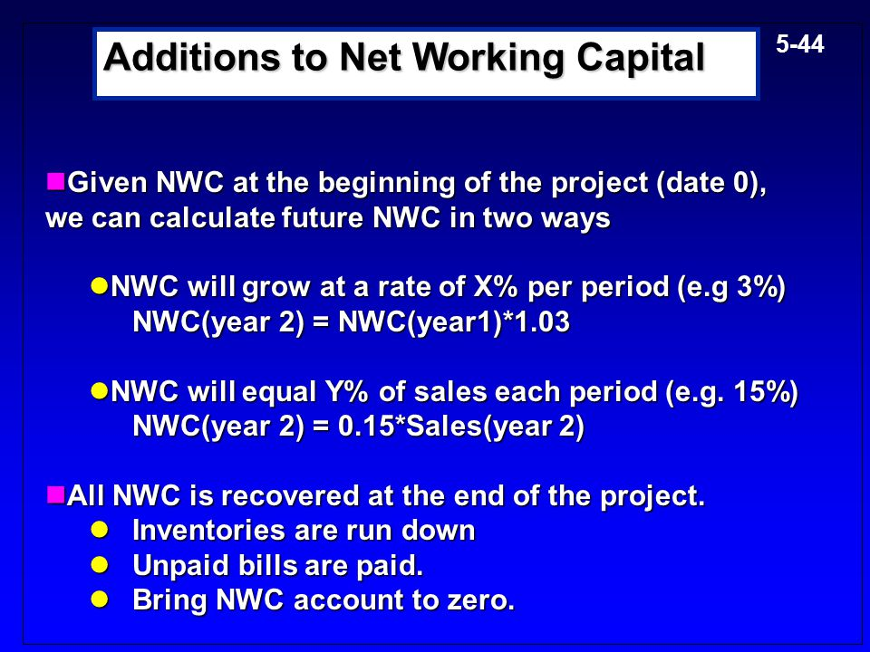 Additions to Net Working Capital