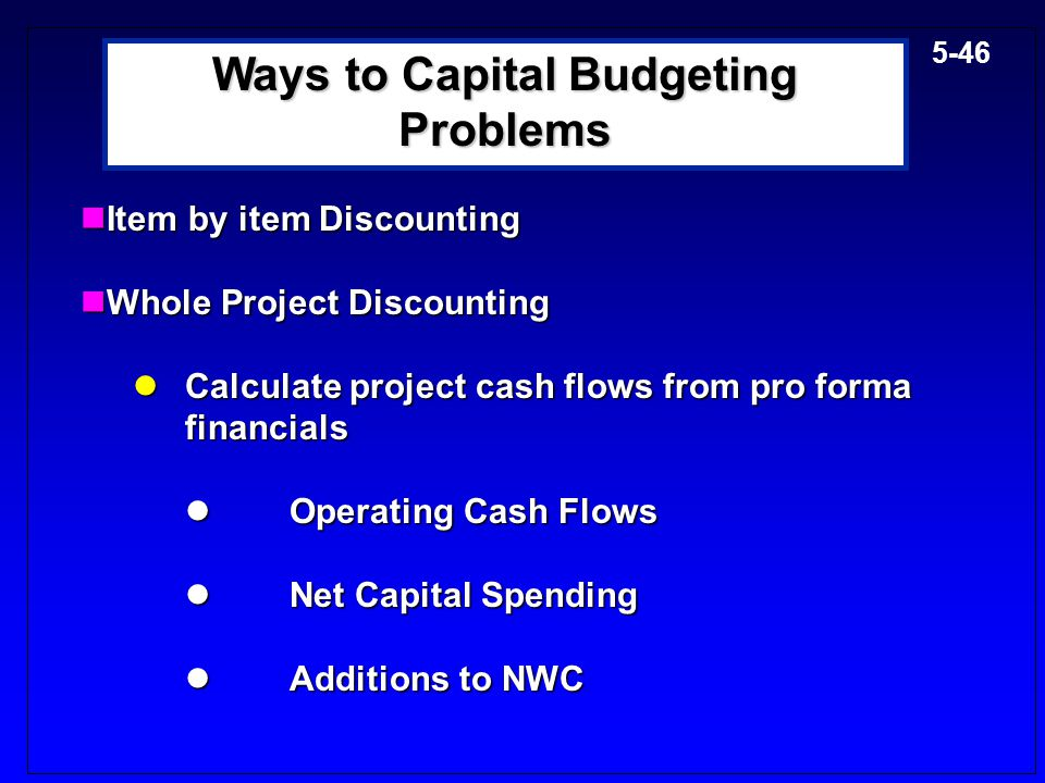 Ways to Capital Budgeting Problems