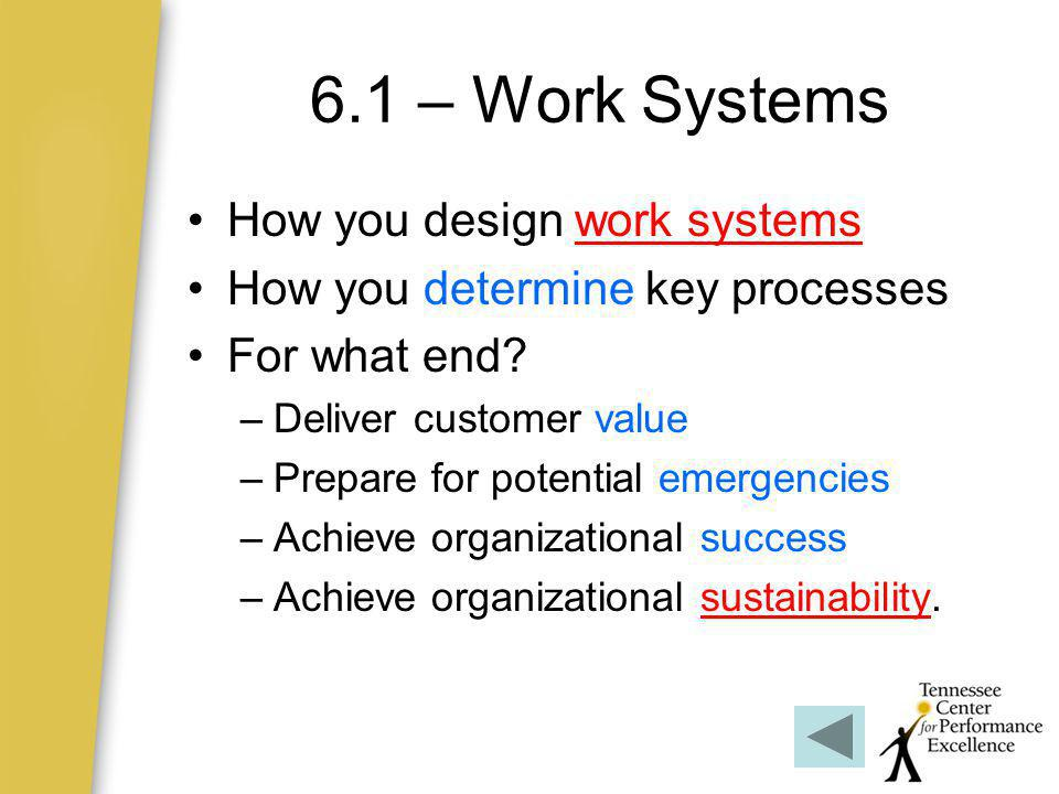 6.1 – Work Systems How you design work systems