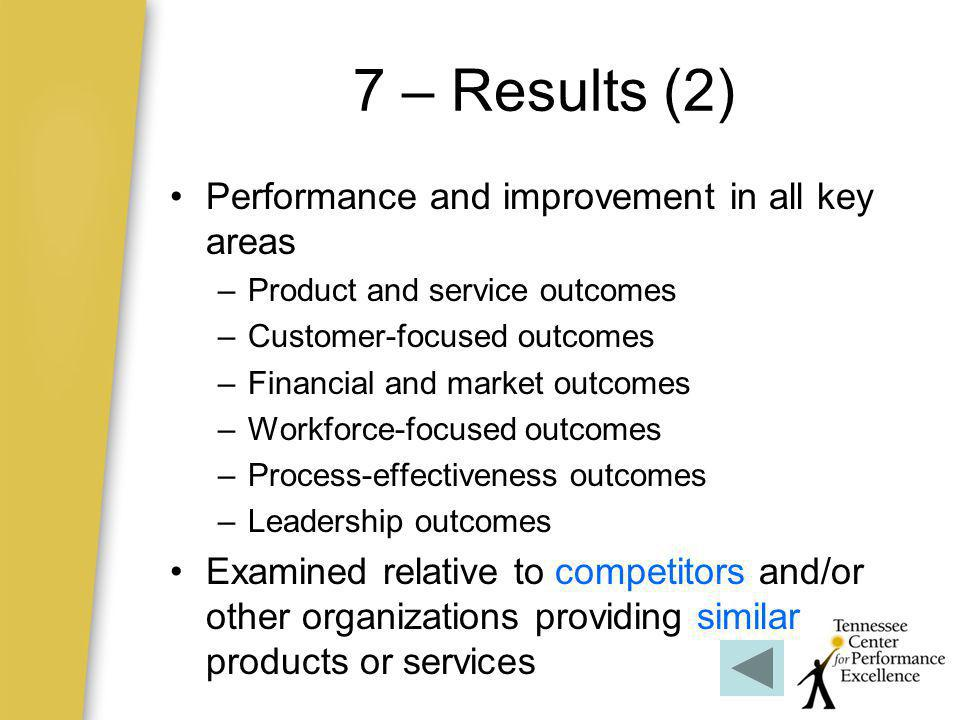7 – Results (2) Performance and improvement in all key areas