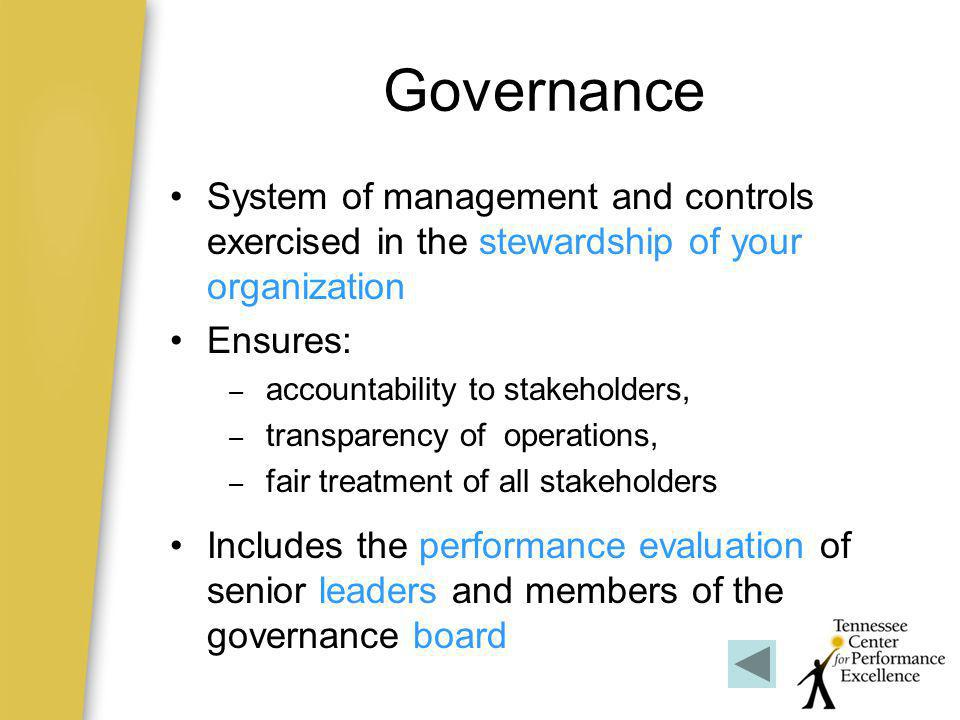 Governance System of management and controls exercised in the stewardship of your organization. Ensures: