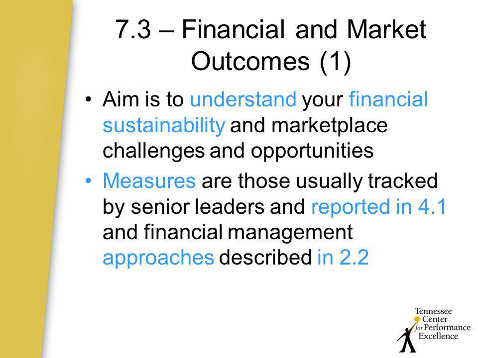 7.3 – Financial and Market Outcomes (1)