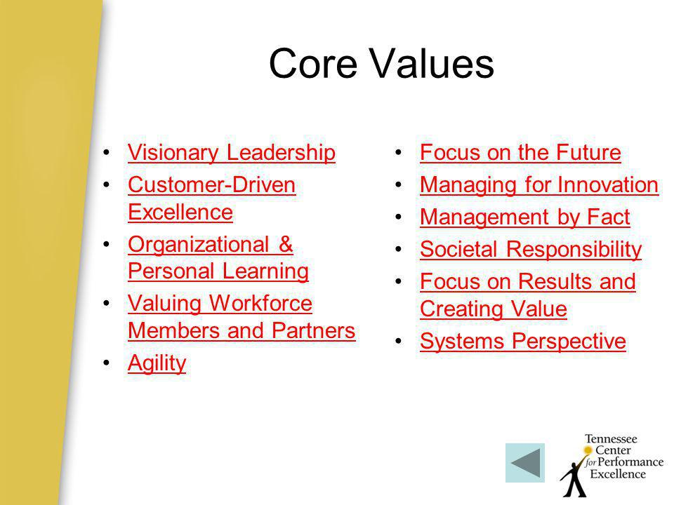 Core Values Visionary Leadership Customer-Driven Excellence